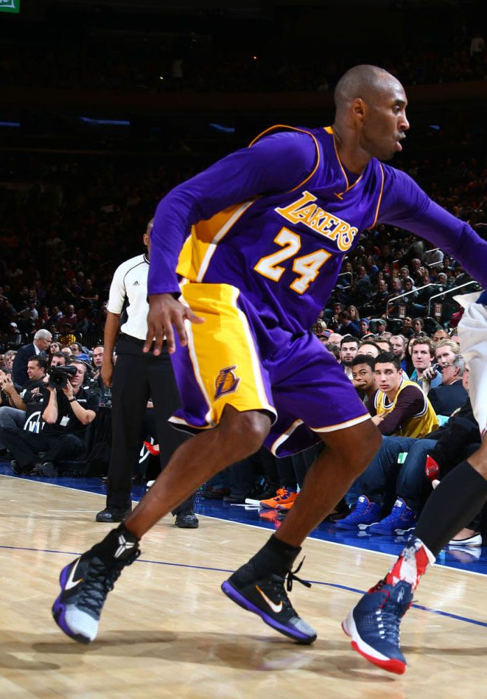 429edf8203ef9 Kobe Bryant wearing Black/White Toe Nike Kobe 10 Elite Lakers PE at Madison  Square Garden (6)