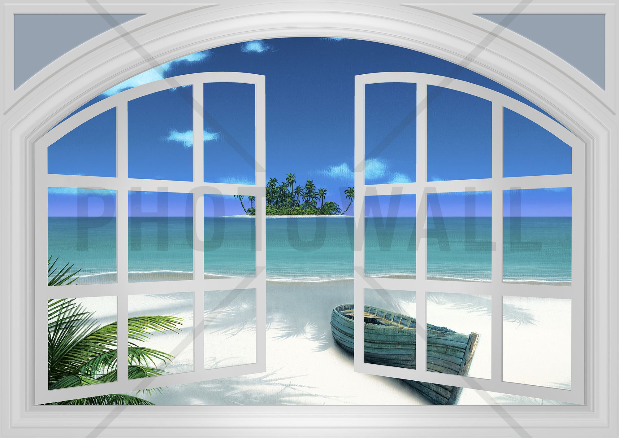 Beach view through window wall mural photo wallpaper for Window wall