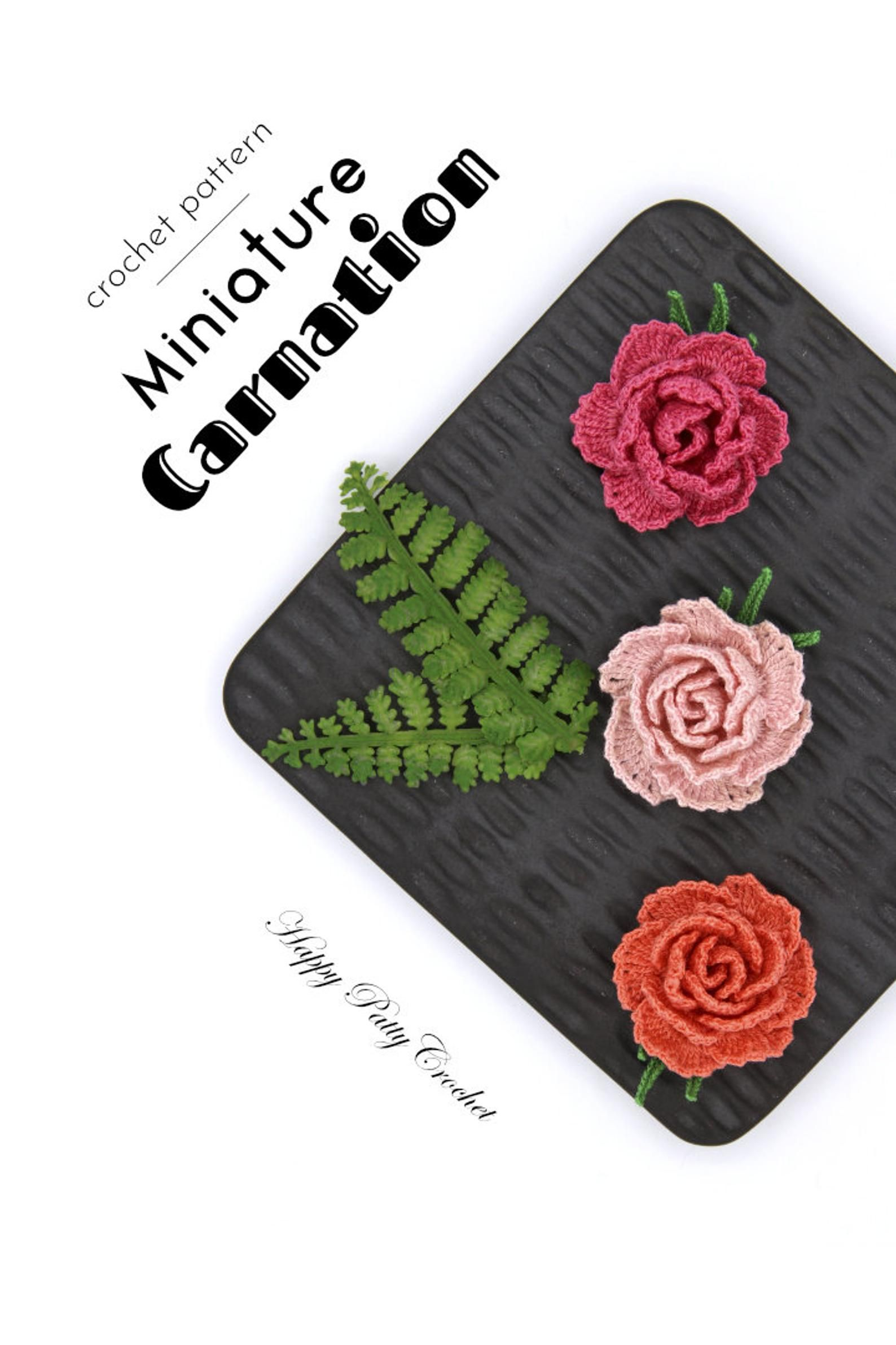 Mini Crochet Carnation Pattern Crochet Flower Pattern Crochet