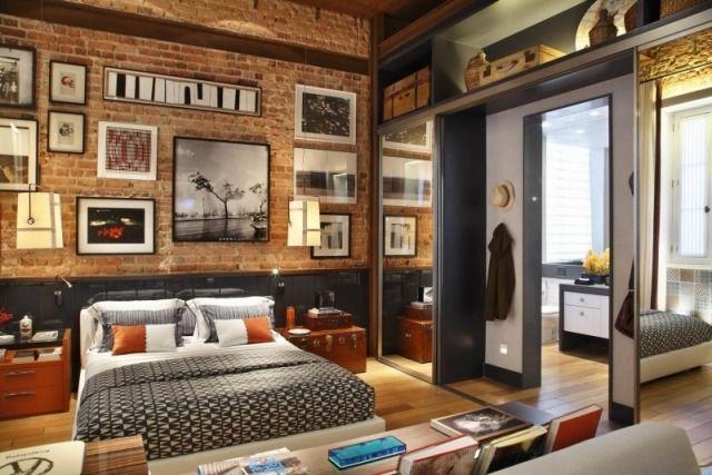 Loft Einrichtungsideen loft wohnung einrichtung schlafzimmer ziegelwand orange grau farben