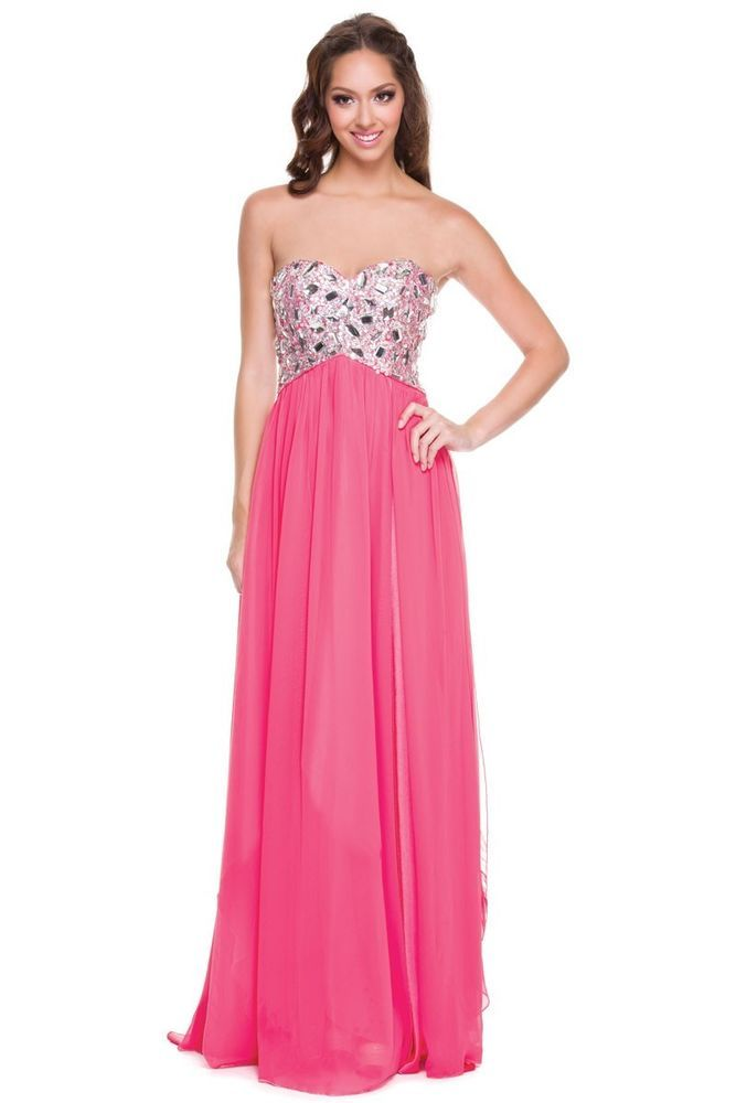 Long Sweetheart High Slit Flowy Skirt Prom Dress Sparkle Fun ...
