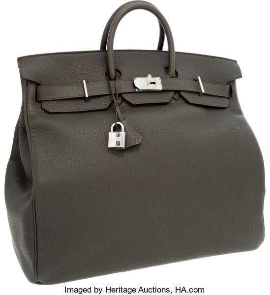 Hermes 50cm Marron Fonce Calf Box Leather   Toile HAC Travel Birkin Bag  with Gold Hardware  350892098afca