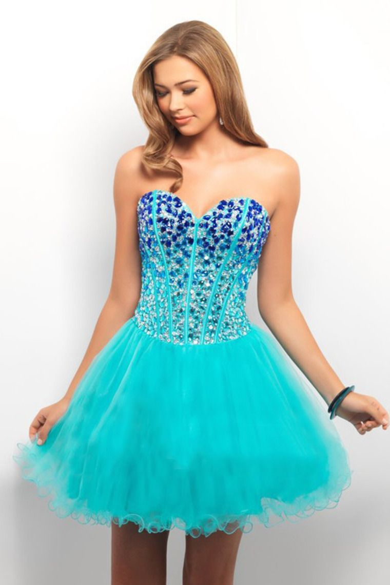 2014 New Arrival Homecoming Dresses A Line Sweetheart Aqua Blue ...