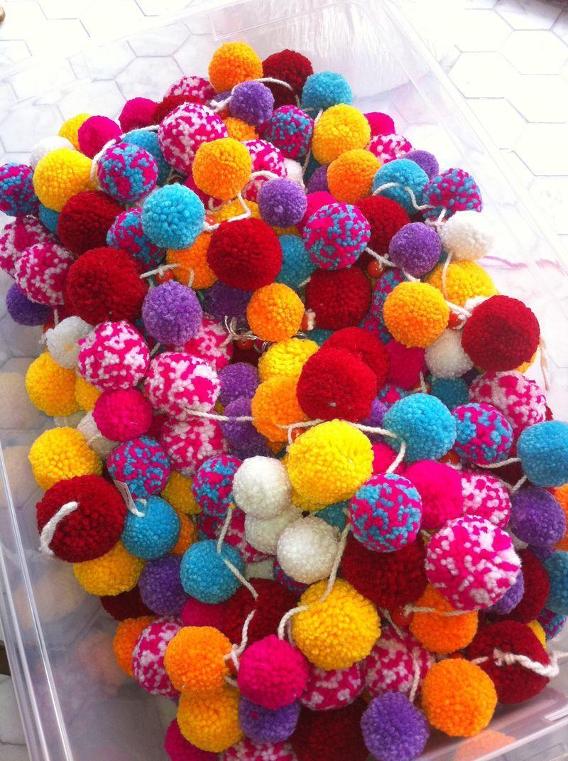 bright color pom pom garland