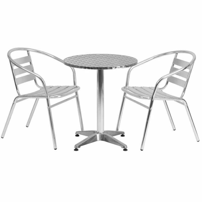 Flash Furniture 23 5 Round Aluminum Table Set W Slat Back Chairs Outdoor Table Settings Outdoor Bistro Set Outdoor Tables