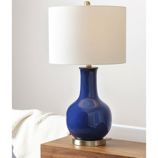 Abbyson gourd navy blue ceramic table lamp