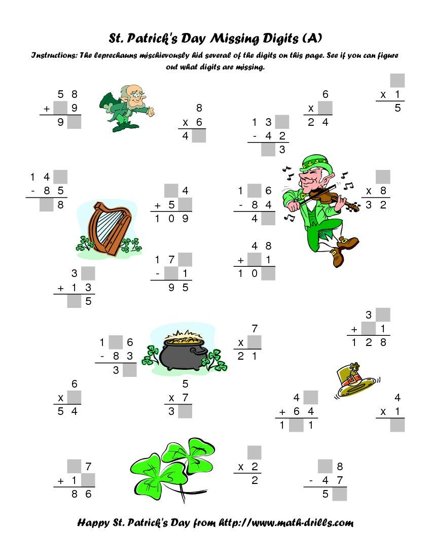 St. Patrick\'s Day Mixed Operations with Missing Digits (A) Math ...