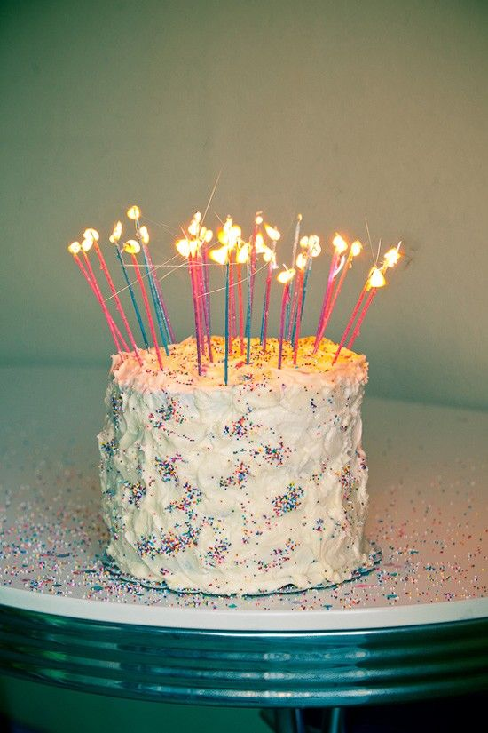 Birthday Cake With Lots Of Candles And Sprinkles Party