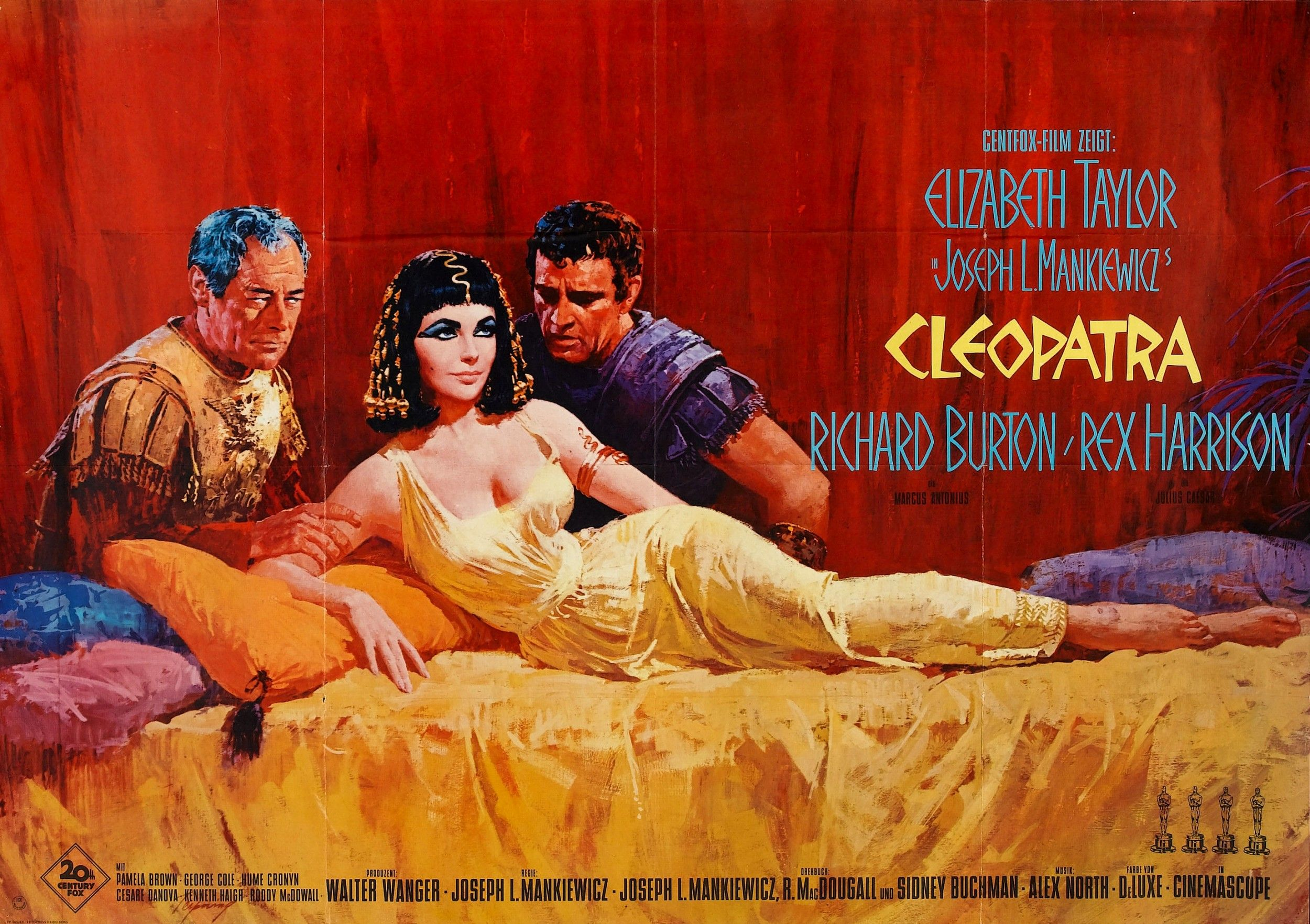 Cleopatra Elizabeth Taylor Rickard Burton Vintage Movie Poster Reproduction