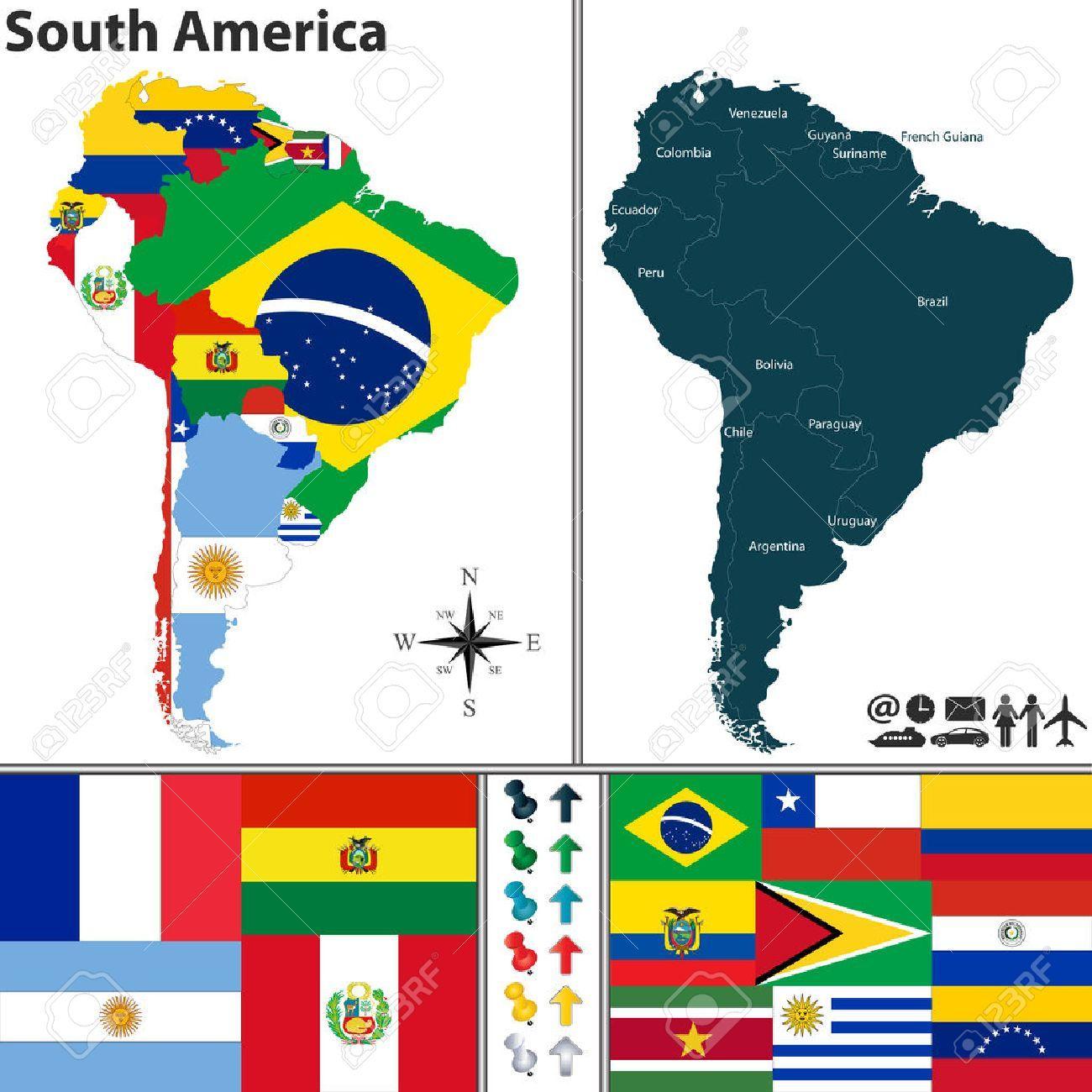 Mapa De América Del Sur Con Banderas Y Ubicación En Mapa Del Mundo South America Map Vector Map