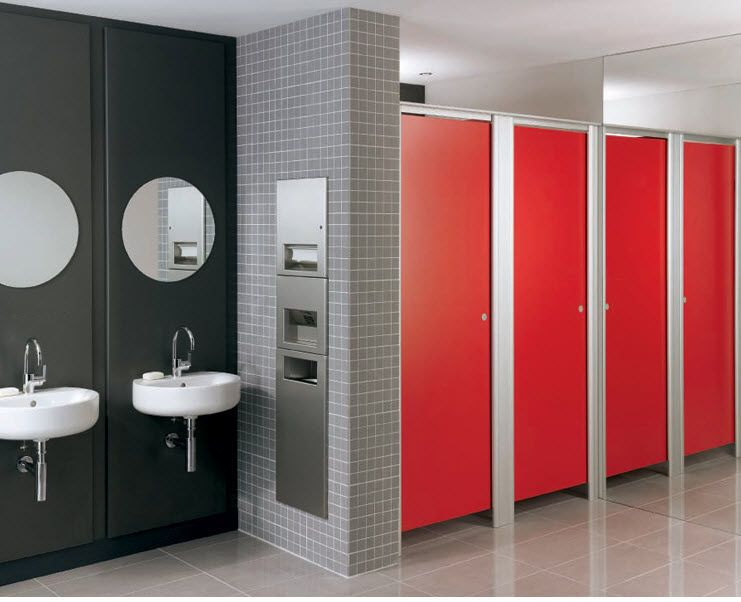 Decoration, Beautiful Red N Black Restroom Partitions: Stainless Steel  Restroom Partitions