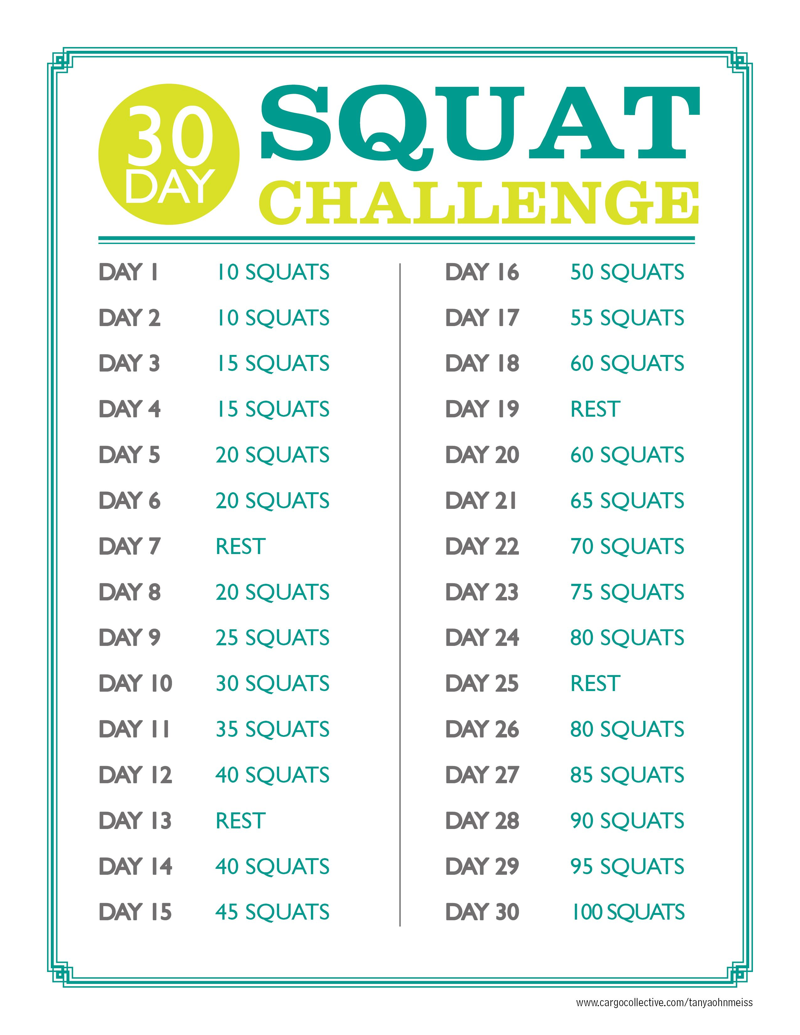 30 Day Squat Challenge Work Your Way Up To Doing 100