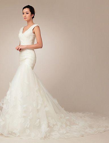 trompeta / sirena vestido de boda - moderno y chic corte cuello en v