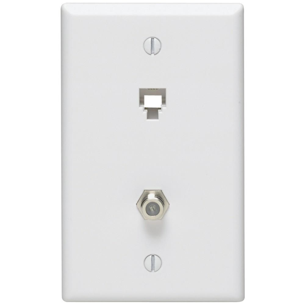 leviton telephone 6p4c plates f connector wall jack white  [ 1000 x 1000 Pixel ]
