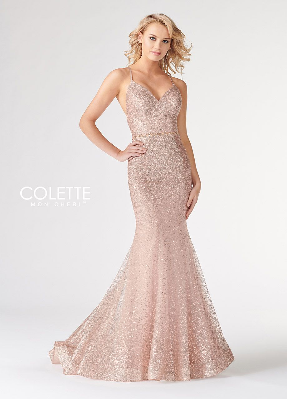 e1e58a5deff Colette for Mon Cheri CL19850 - Sleeveless cracked ice tulle fit and flare  gown with v-neck and criss-cross back detail