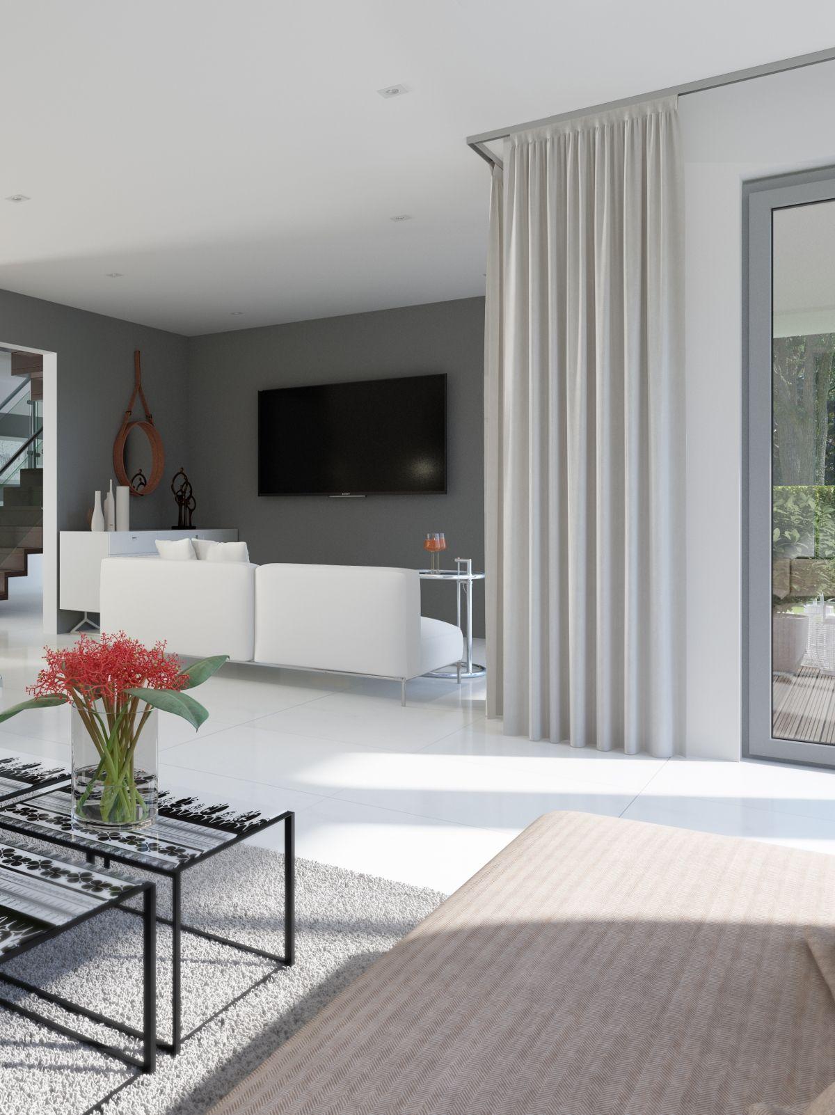 Wohnzimmer des modernen interieurs des hauses ein wohnzimmer das sogar für zwei sofagarnituren platz hat  ist