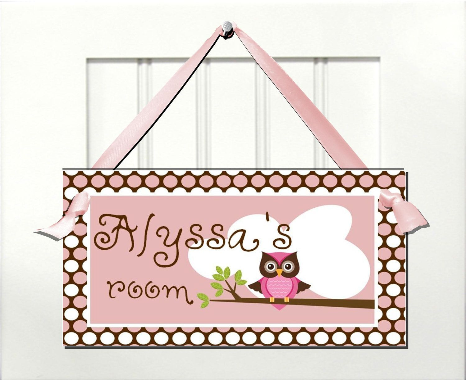Pink cute owl nursery door sign girls bedroom wall art via