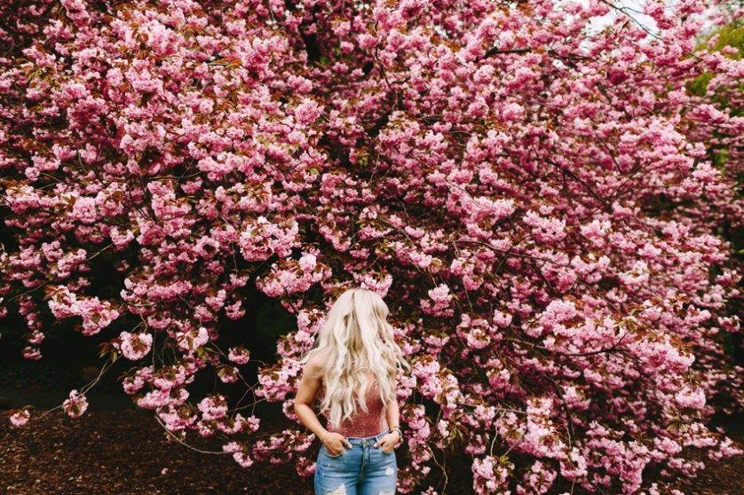 Tonhya Cherry Blossom Brooklyn Lifestyle Session Brooklyn Botanical Garden Spring Photography Flower Photoshoot