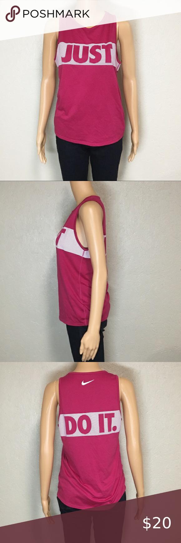 Nike Just Do It Hot Pink Stripe Logo Tank Top in 2020