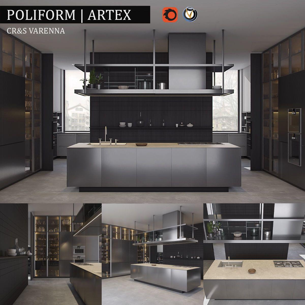 Kitchen Varenna Artex 3D model in 2020 Luxury kitchen