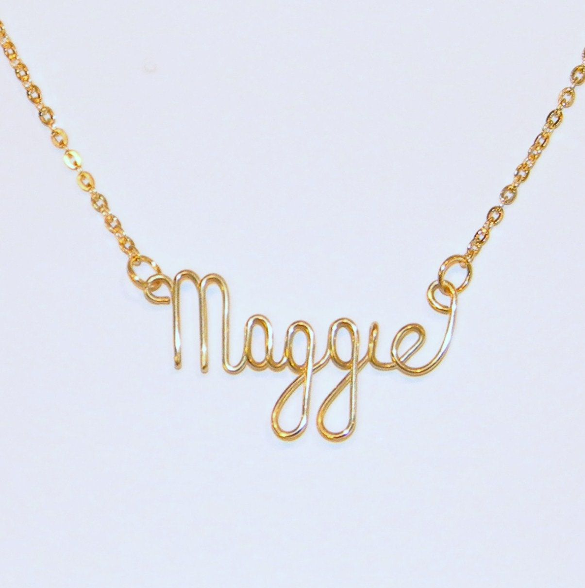 Handmade Personalized 14K Gold Wire Name Necklace - Personalized ...