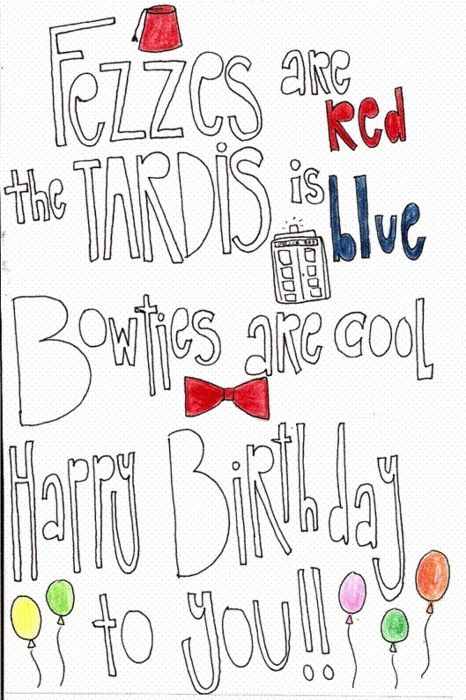 Doctor Who Birthday Card With Images Doctor Who Birthday