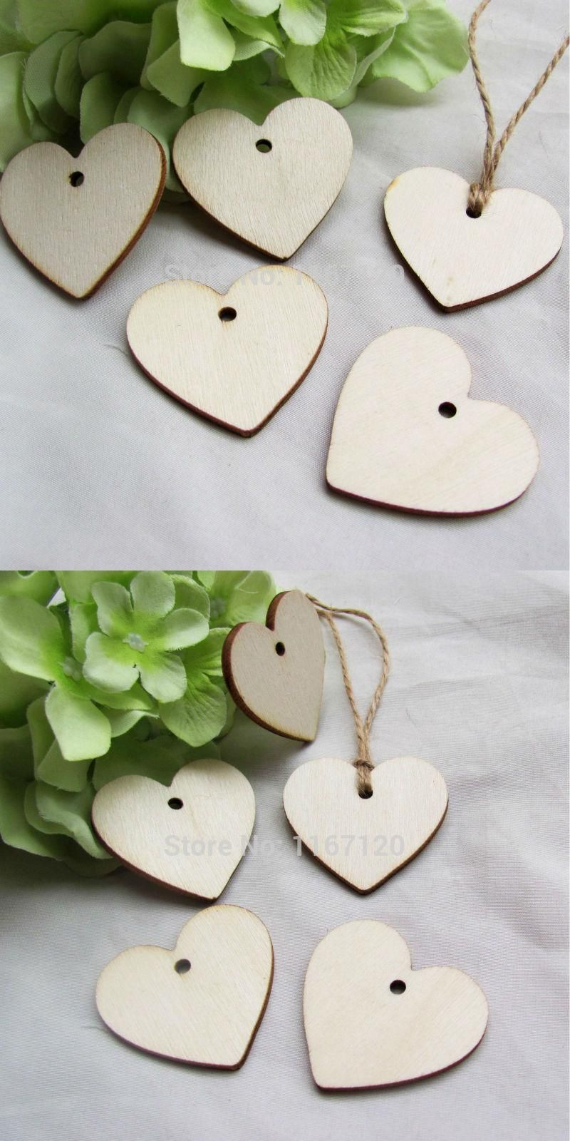 Pcs wood wooden heart tags wedding card wish tree gift tags with