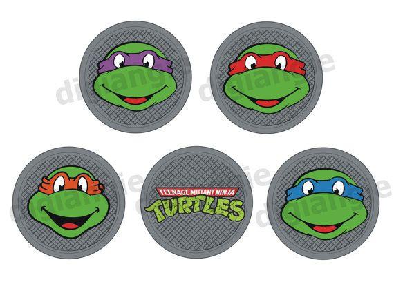 Printable Teenage Mutant Ninja Turtles Cupcake Toppers Turtles Ninja Tags Ninja Turtle Cupcakes Teenage Mutant Ninja Turtles Ninja Turtles