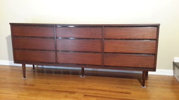 Mid Century Bassett Triple Dresser  Credenza