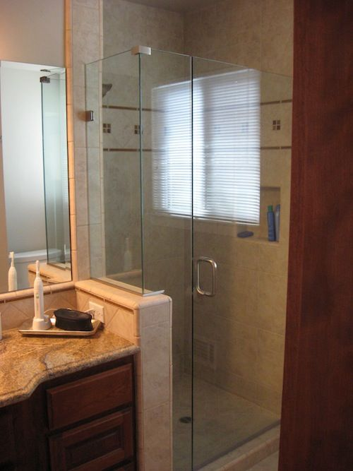 small shower stall - Neat idea to cut out some of the wall for more ...