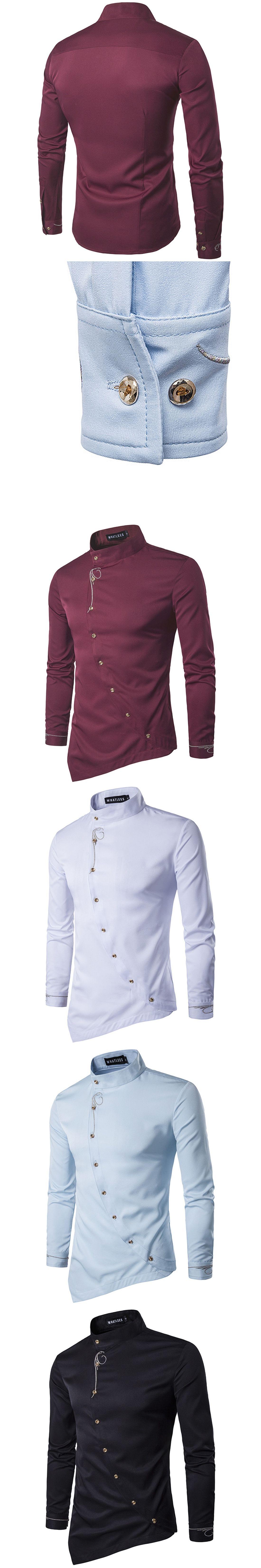 c0e45457359 Button Up Irregular Mens Shirts Stand Collar Long Sleeve Solid Party  Wedding Tuxedo Shirt 2017 Black