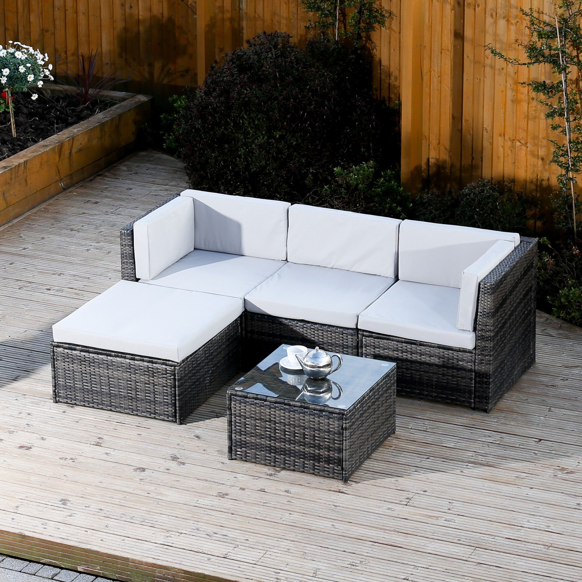 5 Piece Faro Modular Rattan Corner Sofa Set In Dark Mixed Grey With Light Cushio Rattan Effect Garden Furniture Grey Rattan Garden Furniture Rattan Corner Sofa