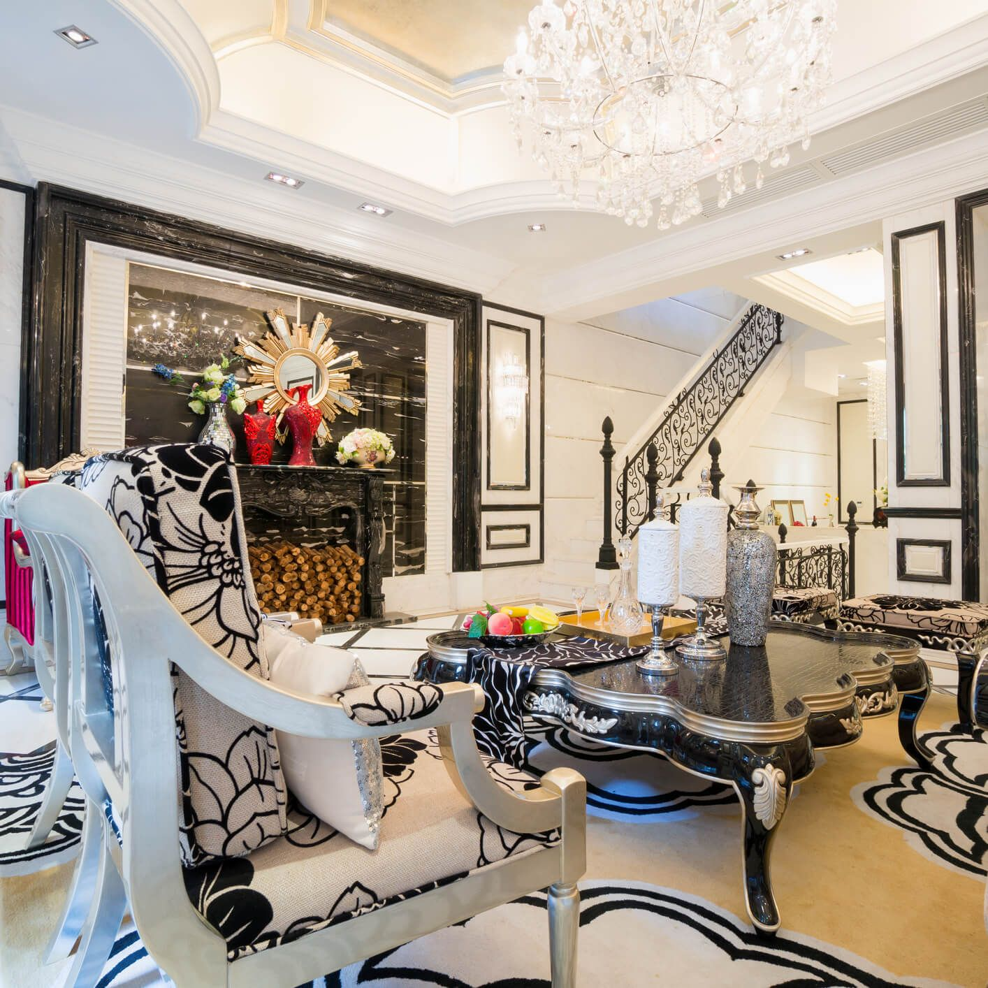 Zebra living room design with black and white patterns on the walls