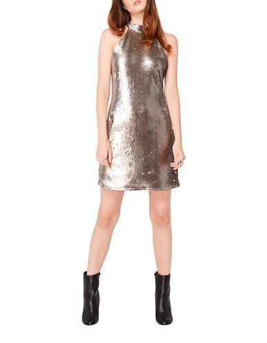 Miss Selfridge Sequined Halter Dress Women's Metallic US 0/UK 4