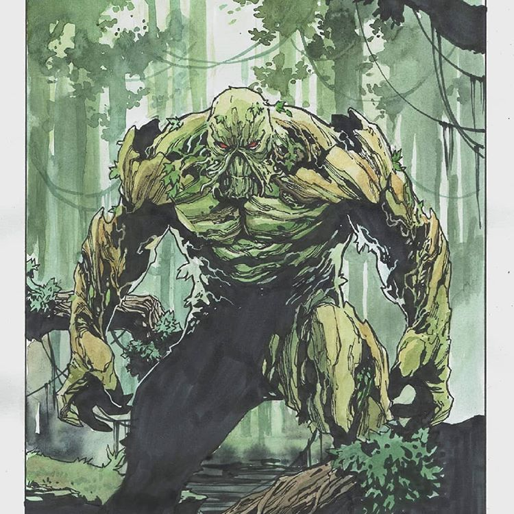 "Dike Ruan on Instagram: ""Swamp Thing . . . . . . . . #dccomics #comics #swampthing #comicstuff #illustration #vertigo #vertigocomics #dcuniverse #dc #artbook…"" #swampthing"