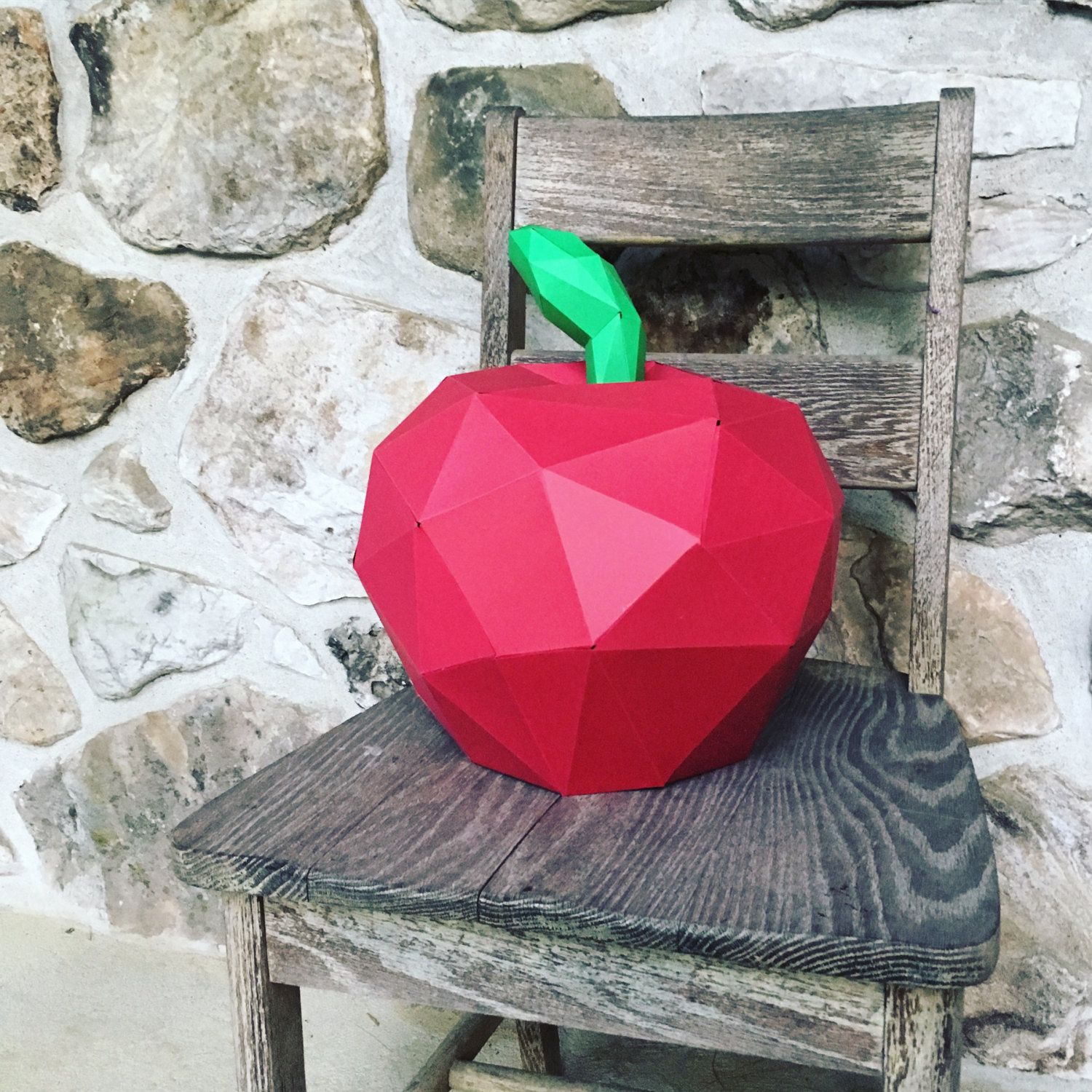 APPLE 3d papercraft. You get a PDF digital template and instructions for this DIY (do