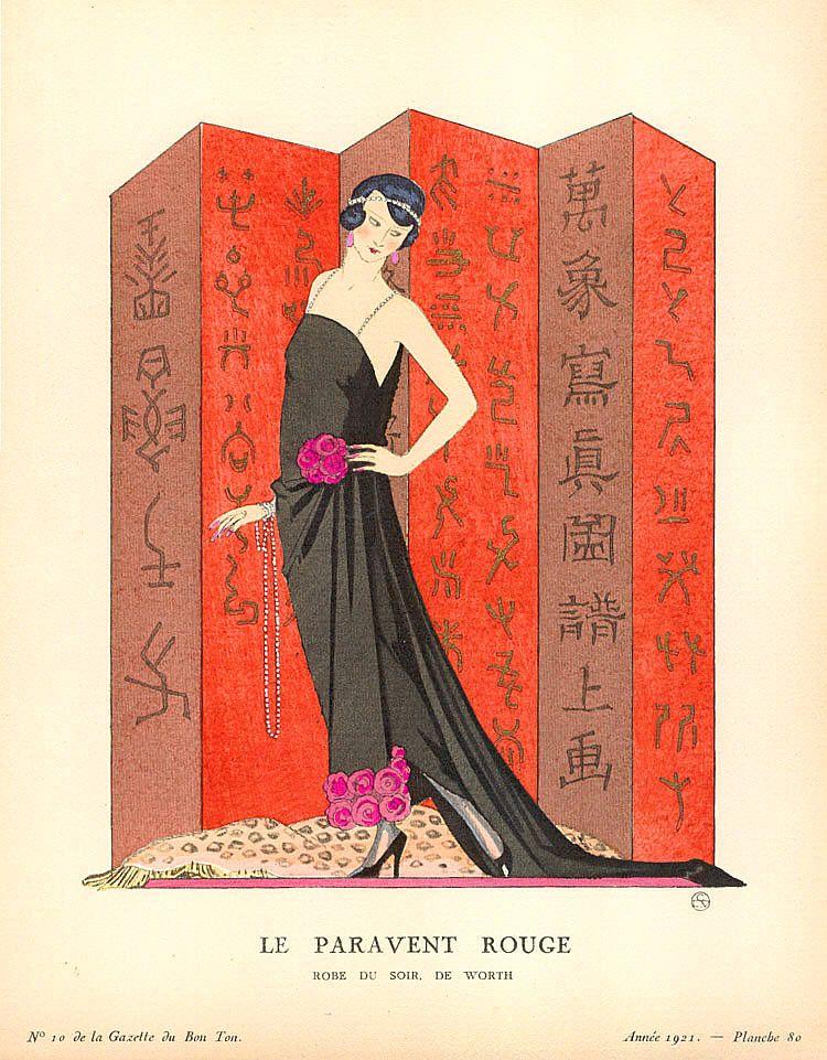 Georges Barbier, Gazette du Bon Ton, Le Paravent Rouge, 1921