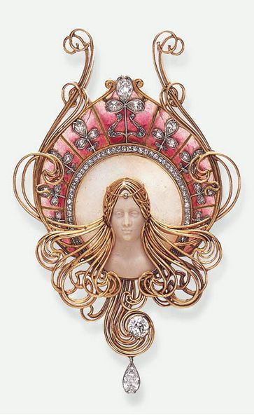 A RARE ART NOUVEAU DIAMOND, OPAL, HARDSTONE AND ENAMEL PENDANT, BY GABRIEL FALGUIERES - via christies.com