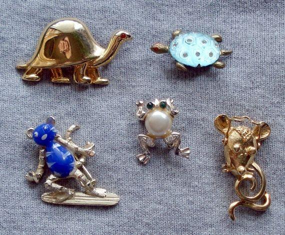 Vintage brooch lot animal Brooch lot by CoolStuffUnlimited