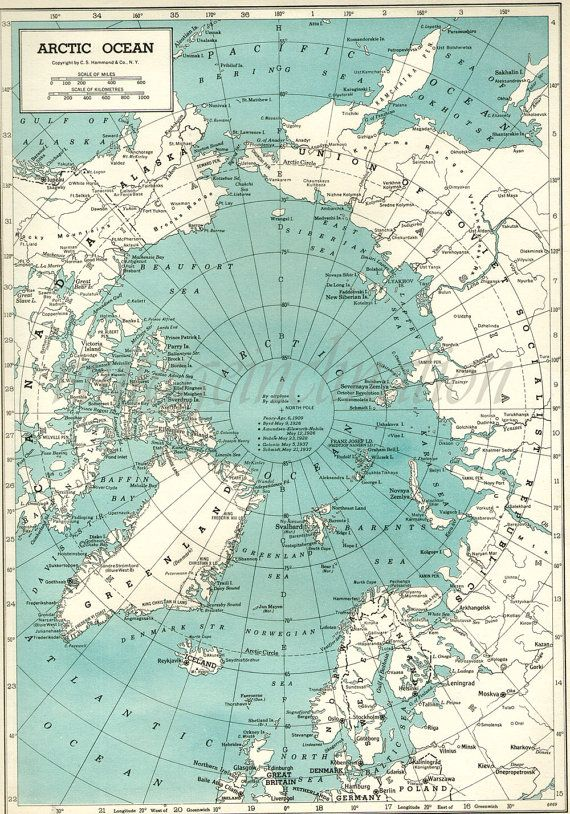 Vintage Map Arctic Ocean Alaska Canada Germany Greenland ORIGINAL ...