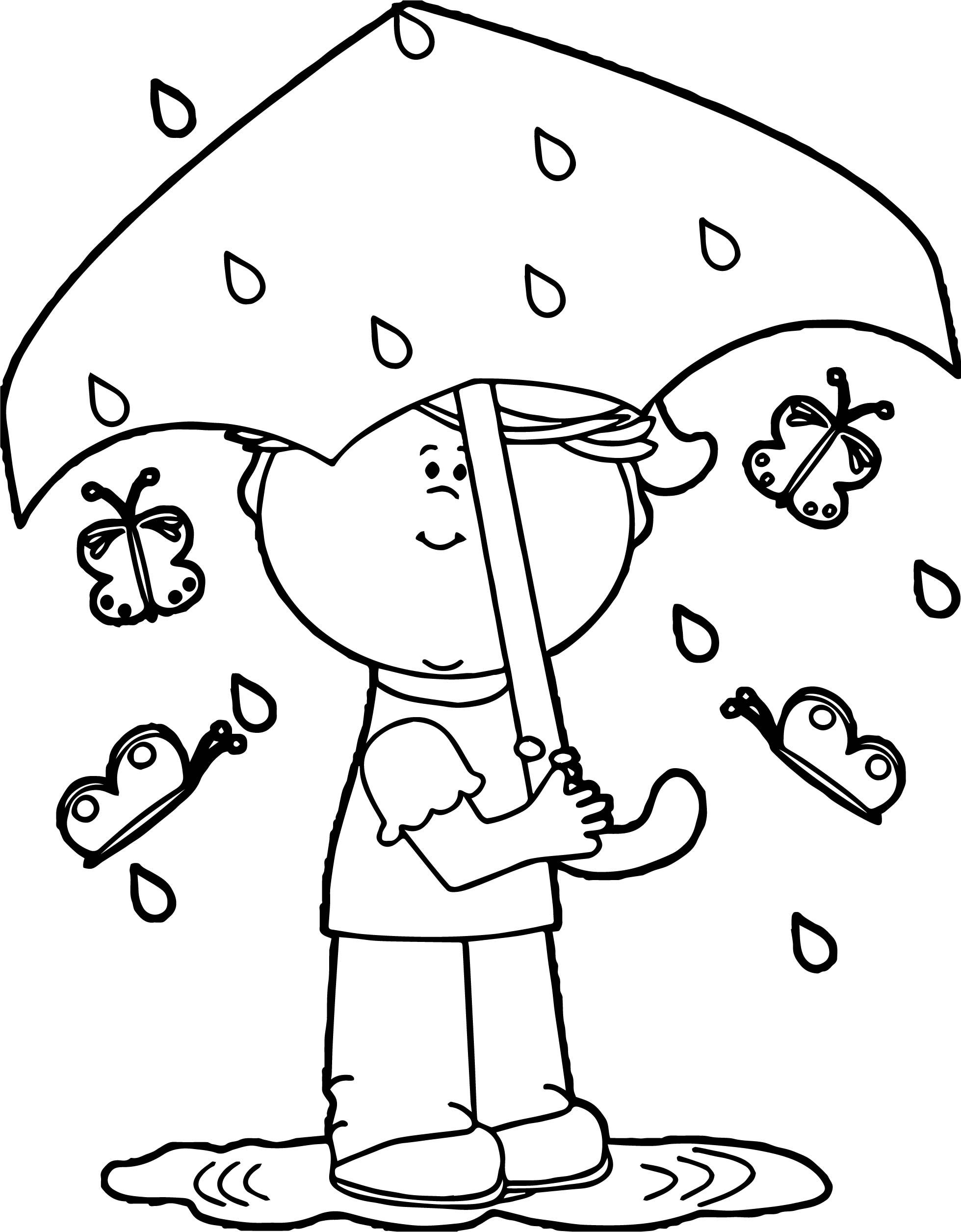 Nice Girl In Spring Rain Coloring Page Coloring Pages Coloring