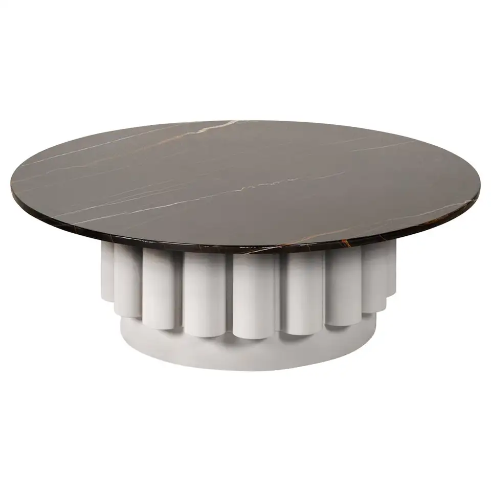 Round Dark River Marble Top Coffee Table With Fluted Base Marble Top Coffee Table Coffee Table Concrete Dining Table [ 960 x 960 Pixel ]