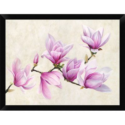 "East Urban Home 'Ramo di Magnolia' Framed Graphic Art Print Size: 12"" H x 16"" W, Frame Color: Black"