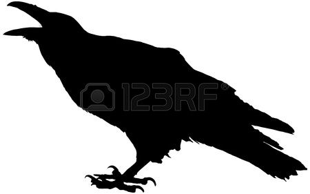 Cawing raven vector silhouette Stock Vector