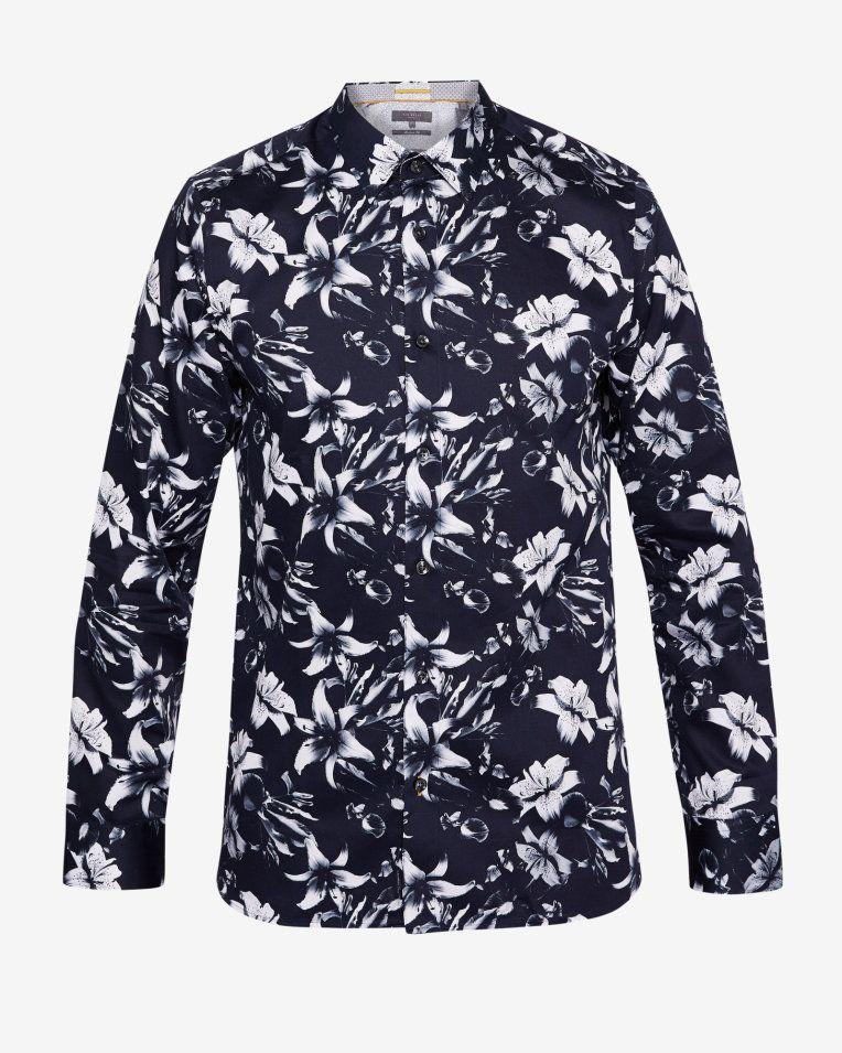 ddc6e12c6dd5 Statement floral print cotton shirt - Navy