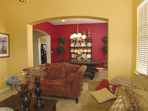 Red accent wall dining room niche idea match red to my for Dining room niche ideas