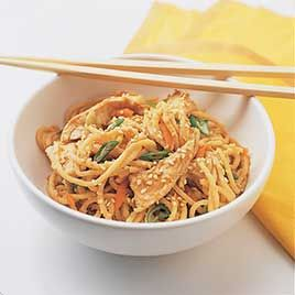 America's Test Kitchen Sesame Noodles with Shredded Chicken #bonelessskinlesschickenbreasts (or with Sweet Peppers and Cucumbers: http://eat.at/swap/forum1/20083_REC__Sesame_Noodles_with_Sweet_Peppers_and_Cucumbers)