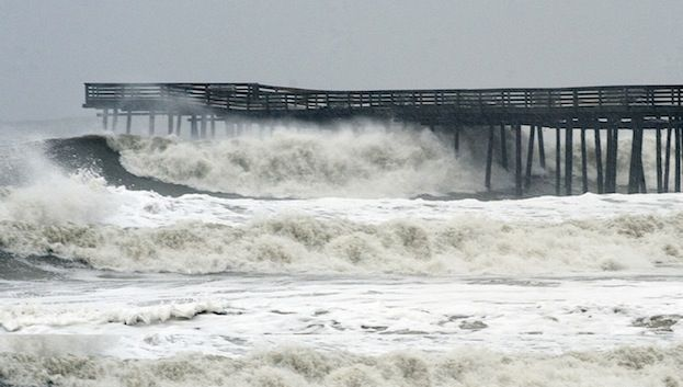 Waves From Hurricane Sandy At Virginia Beach