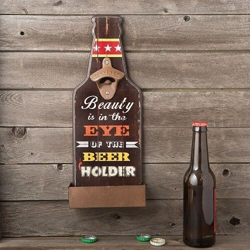 Beauty Is In The Eyes Of The Beer Holder Bottle Opener Man Cave Bar Games Room  | eBay