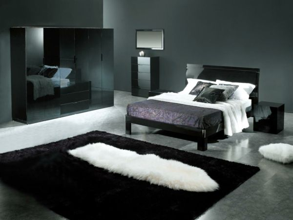 schwarze m bel und wandgestaltung im luxus schlafzimmer 30 interessante vorschl ge f r tapeten. Black Bedroom Furniture Sets. Home Design Ideas